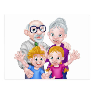 Kids and Grandparents Postcard