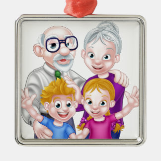 Kids and Grandparents Silver-Colored Square Decoration