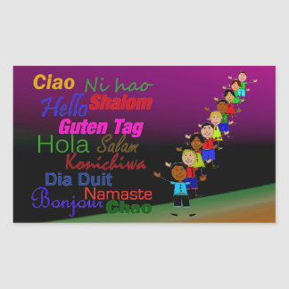 Kids And Hello In Many Languages Rectangular Sticker