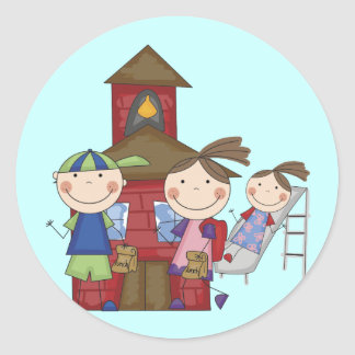 Kids and Schoolhouse T-shirts and Gifts Round Sticker