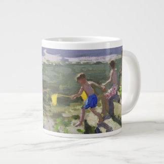 Kids and seagulls Looe 2013 Large Coffee Mug