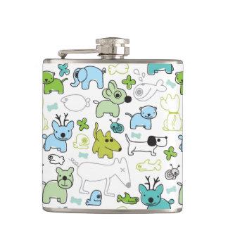 kids animal background pattern hip flask