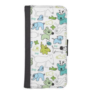 kids animal background pattern iPhone SE/5/5s wallet case