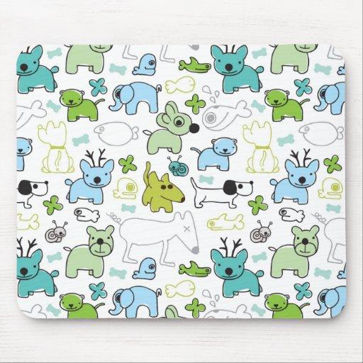 kids animal background pattern mouse pad