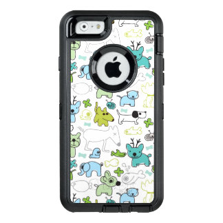 kids animal background pattern OtterBox defender iPhone case