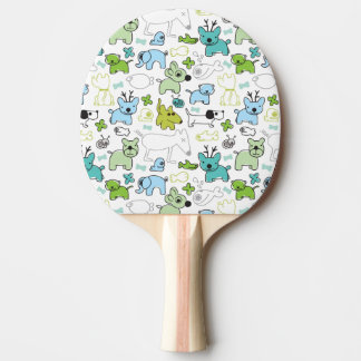 kids animal background pattern ping pong paddle