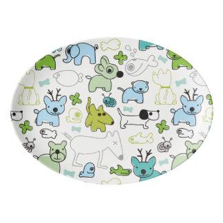 kids animal background pattern porcelain serving platter