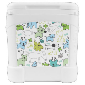 kids animal background pattern rolling cooler