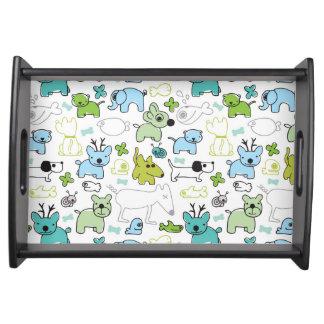 kids animal background pattern serving tray