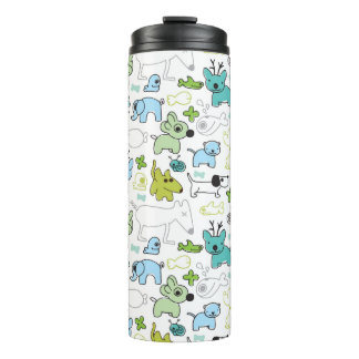 kids animal background pattern thermal tumbler