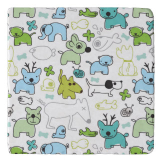 kids animal background pattern trivet