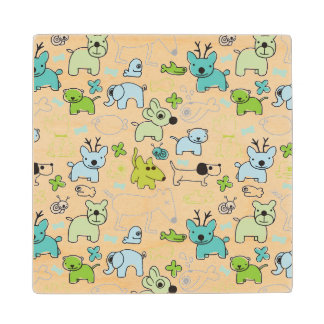 kids animal background pattern wood coaster