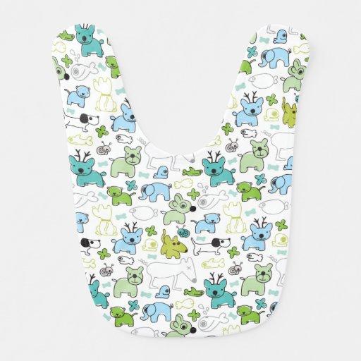 kids animal background pattern baby bib