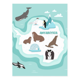 Kids Animal Map of Antarctica Postcard