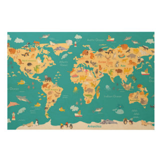 Kids Animal Map of the World Wood Wall Art