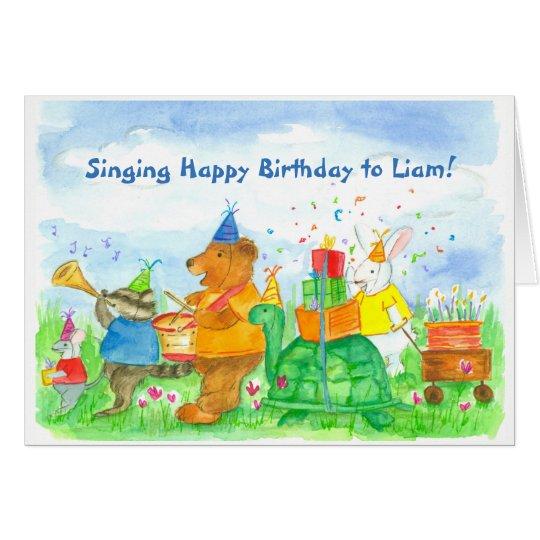 Kids Animal Parade Birthday Custom Name Card