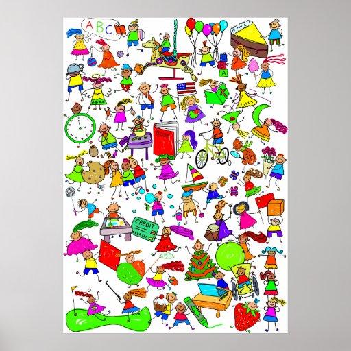Kids Are Great Cute Cartoon Stick Figure Montage