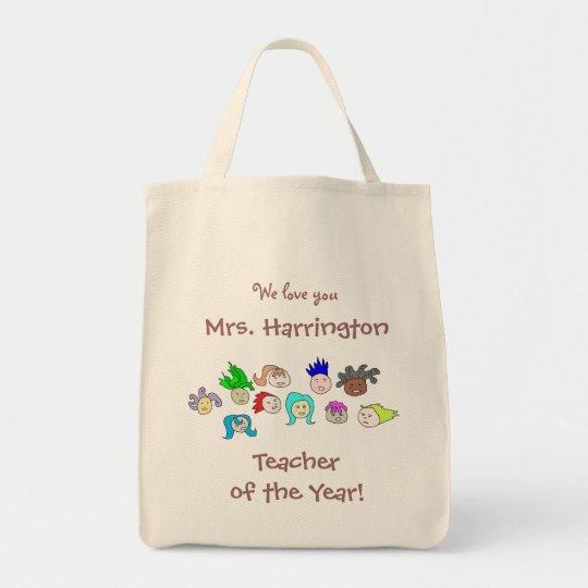 "Kids Art, Personalised ""Teacher of the Year"" Bag"