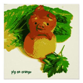 Kid's Art Poster Pig On Orange Series