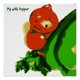 Kid's Art Poster Pig with Pepper Series Art