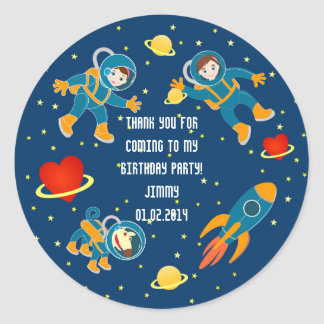 Kids Astronauts love space travel Classic Round Sticker