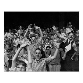 Kids at a Ball Game, 1942. Vintage Baseball Photo Poster