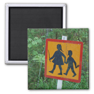 Kids at play! square magnet