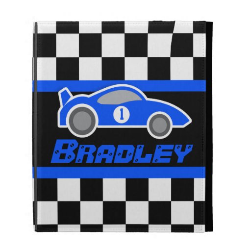 kids auto blue sports car named ipad folio case