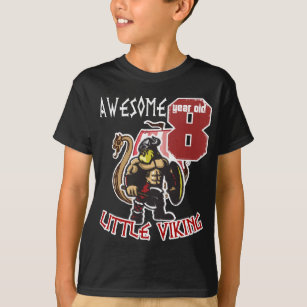 Kids Awesome 8 Year Old Little Viking 8th Birthday T Shirt