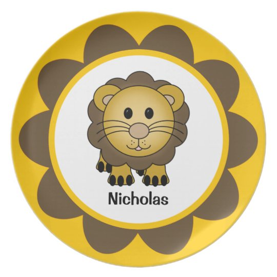 Kids' Baby Lion Personalised Melamine Plate