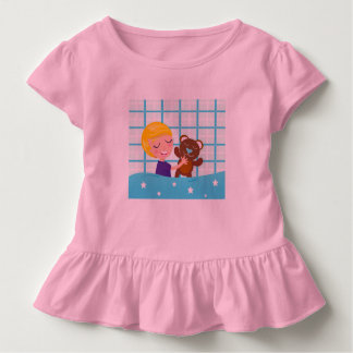 Kids baby tshirt with hand drawn Teddy and boy