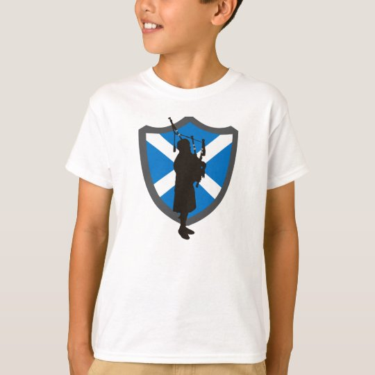 Kids Bagpiper T-Shirt: Highlander Bagpiper Shield T-Shirt