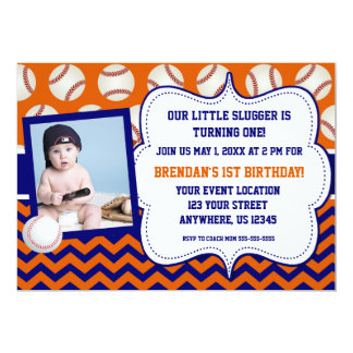 Kids Baseball Photo Birthday Invitation