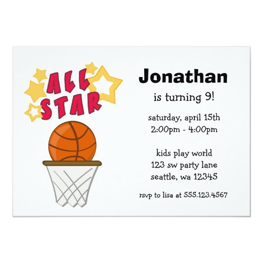 Kids Basketball All Star Birthday Party Invitation