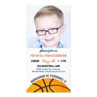 Kids Basketball Birthday Party Sports Themed Photo Photo Greeting Card
