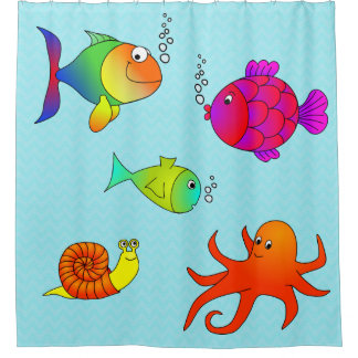Kids' Bathroom Adorable Friendly Sea Creatures Shower Curtain