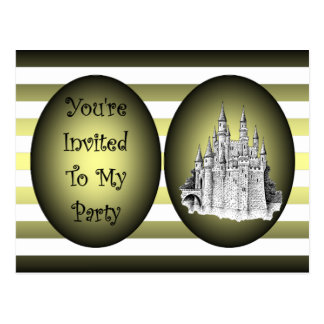 Kids  B'day Party Invite ~Castle~Gr & Bl Stripes ~ Postcard