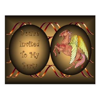 Kids B'day Party Invite ~ Pegasus ~ Gold & Black ~ Postcard