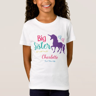 Kids Big Sister Unicorn Pretty Colorful Sisters T-Shirt
