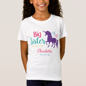 Kids Big Sister Unicorn Pretty Colourful Sisters T-Shirt