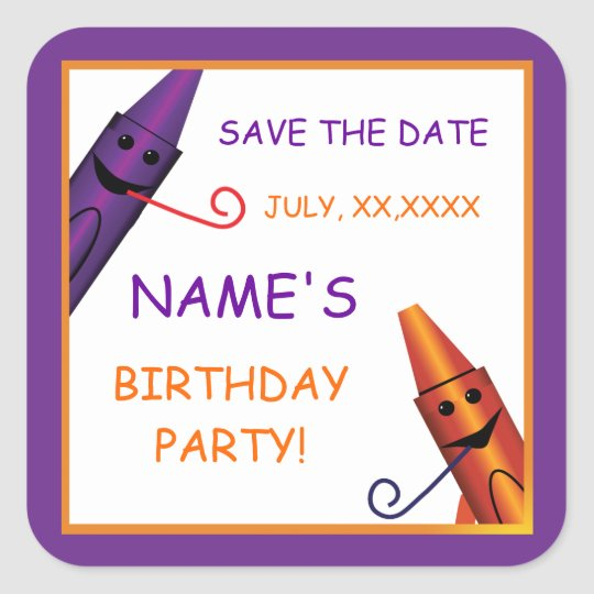 kids birthday crayon party save the date sticker zazzle co uk
