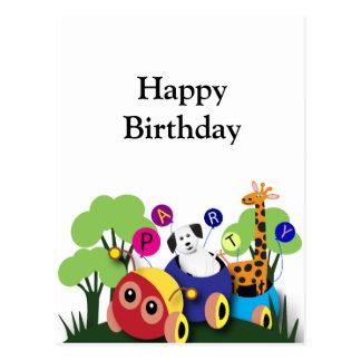 Kids birthday: Fun caterpillar train Postcard
