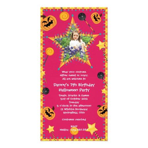 Kid's Birthday Halloween Costume Party Invitation Photo Card Template