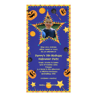 Kid's Birthday Hallowen Costume Party Invitation Photo Card Template