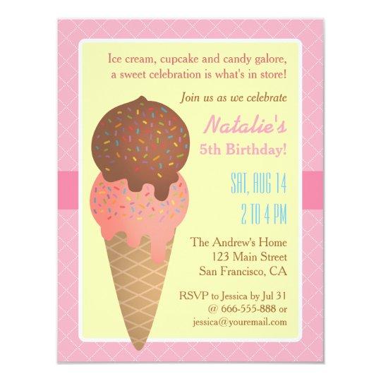 Kids Birthday, Ice cream party invitations