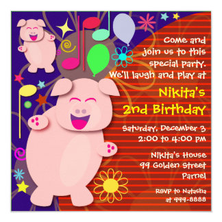 "Kids Birthday Invitation: 013 Dancing Piggies 5.25"" Square Invitation Card"