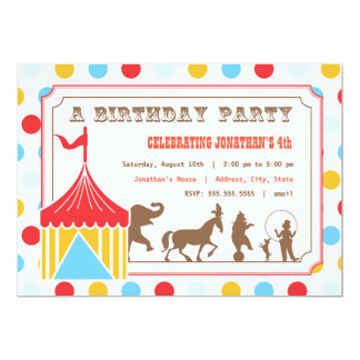 Kids Birthday Invitation - Circus