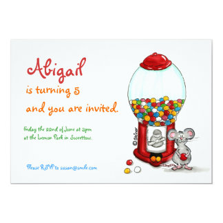 Kids Birthday Invitation - Cute Mouse with Gumball