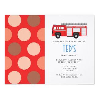 Kids Birthday Invitation - Fire Truck