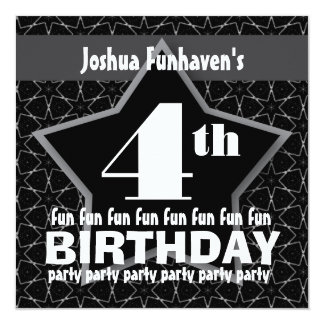 Kids Birthday Party Black and Silver STAR W201 13 Cm X 13 Cm Square Invitation Card